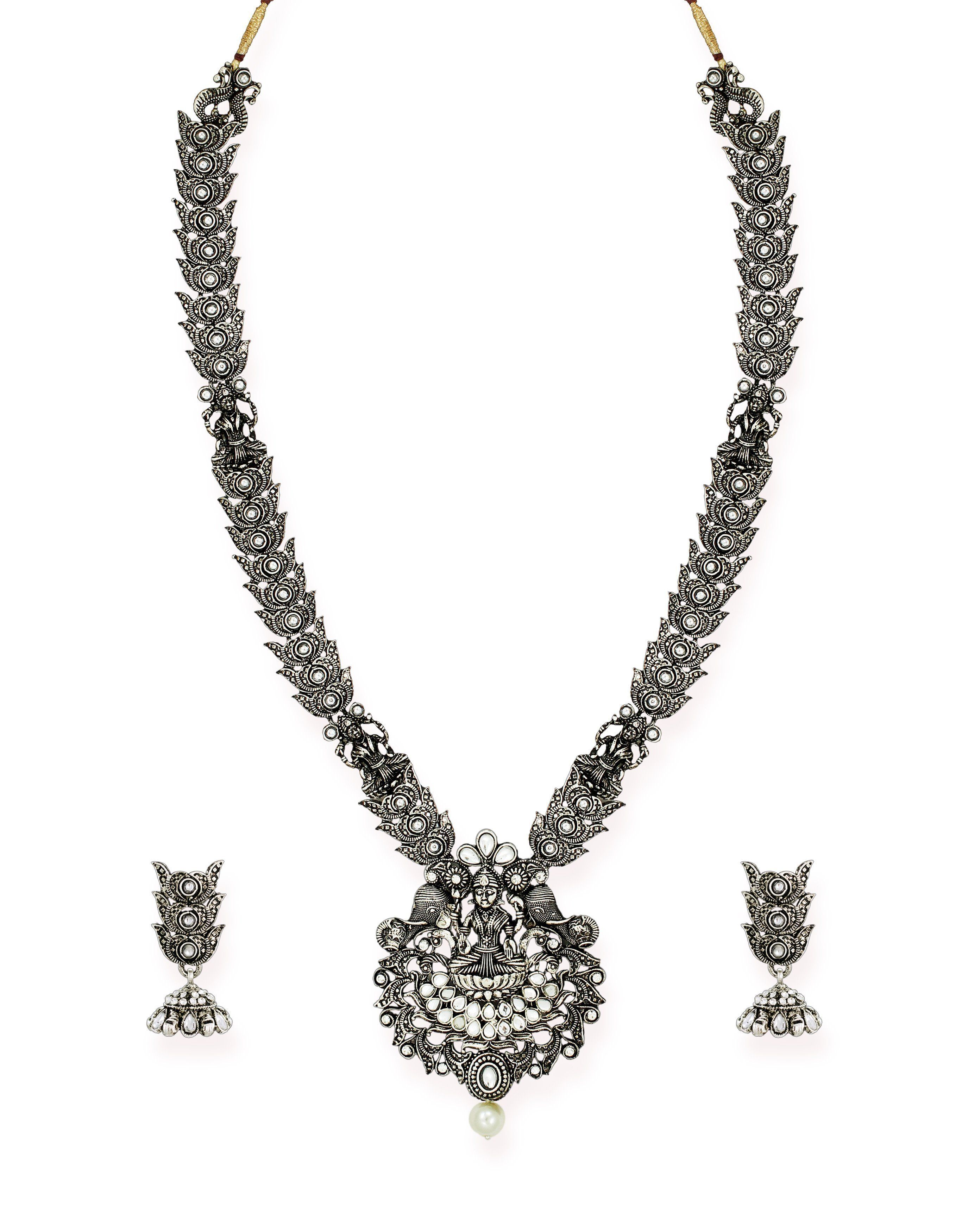 Zaveri pearls finely detailed antique silver tone goddess temple