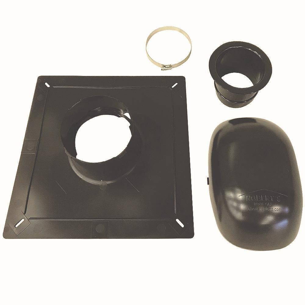 ado products roof vent kit, bath and dryer in black | roof