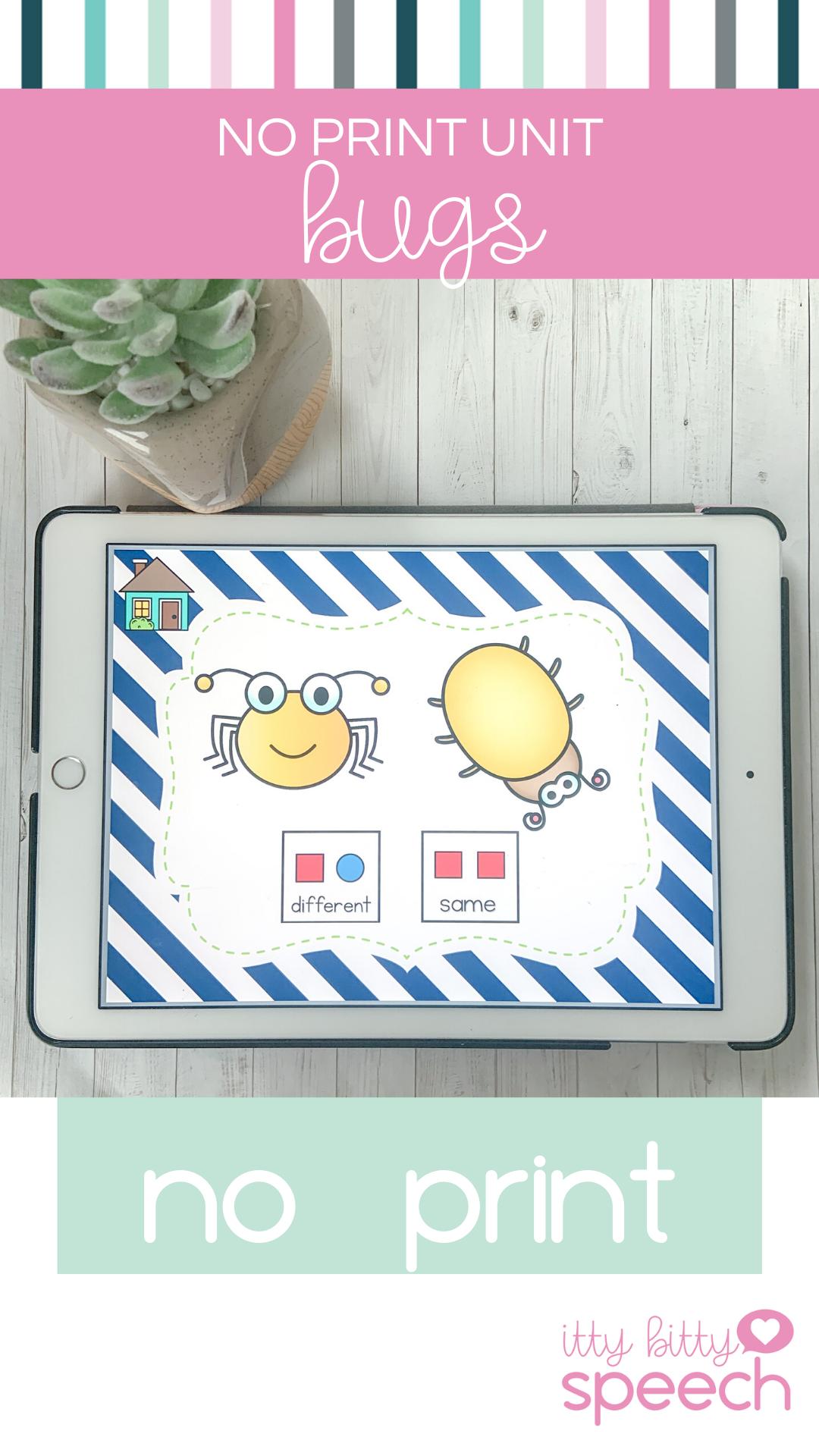 Bugs No Print Preschool Language Unit Distance Learning