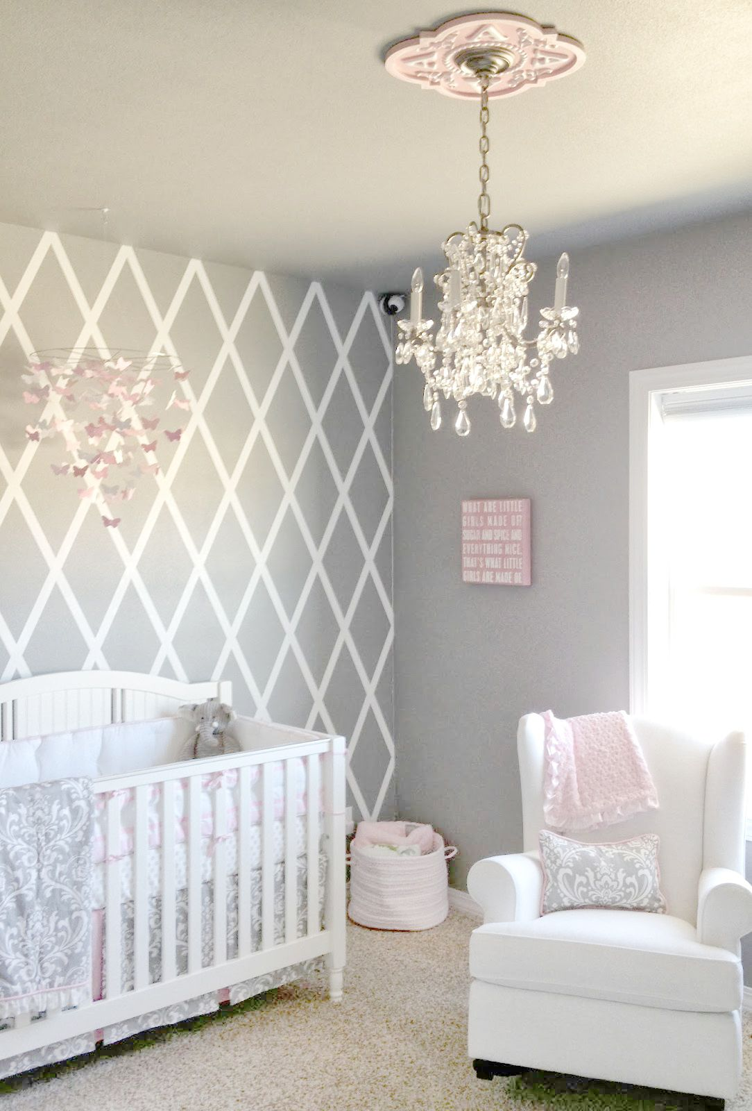 Beautiful gray and pink nursery features our Stella Gray Baby Bedding  Collection! So pretty for