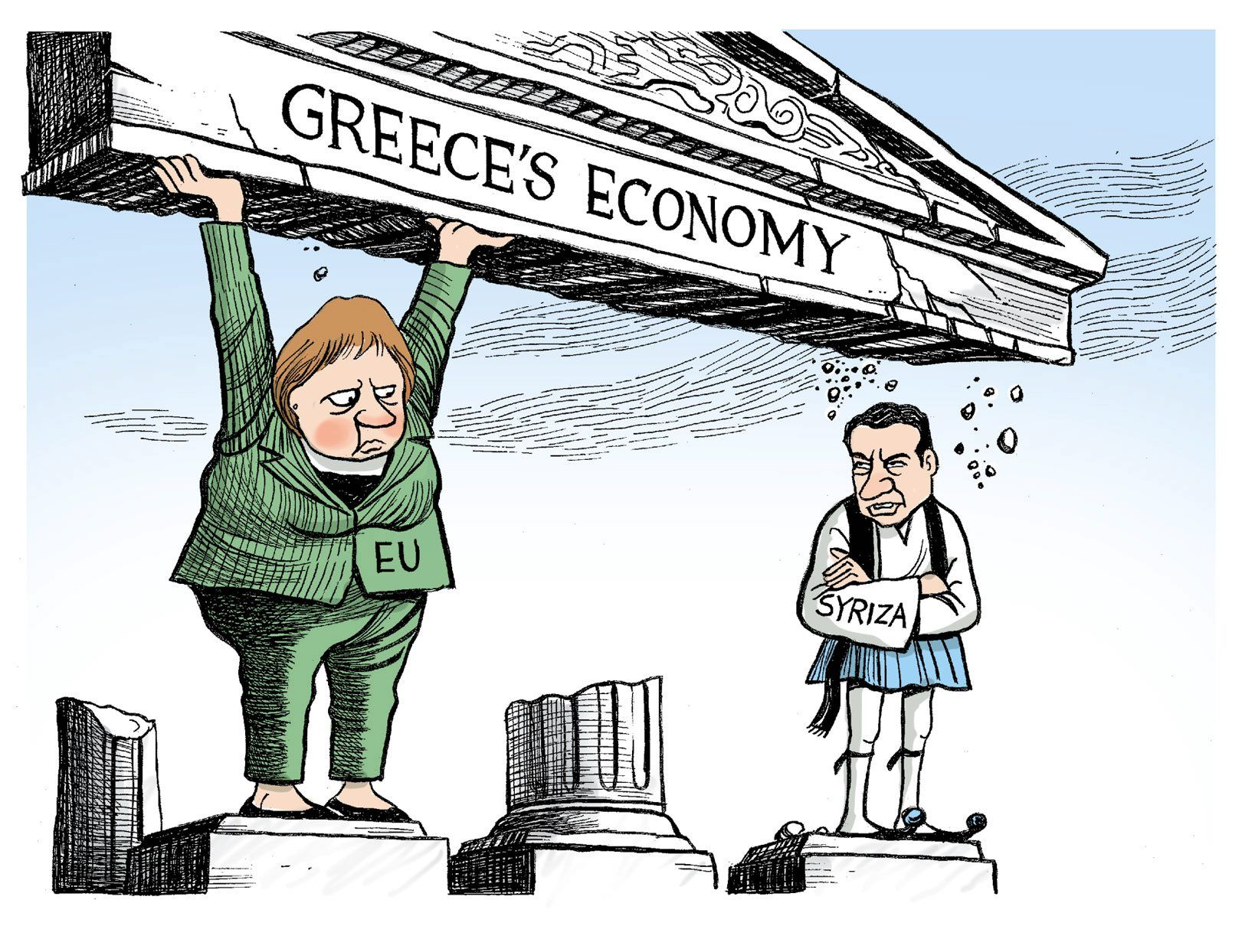 This is an example for a caricature showing the german president Angela Merkel. Germany was supposed to collaborate with Greece for the economy but prime minister has other plans to safe the country.