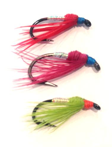 Articulated Leech Black Fly Fishing Flies x 6 Steelhead, Salmon, Trout, Bass