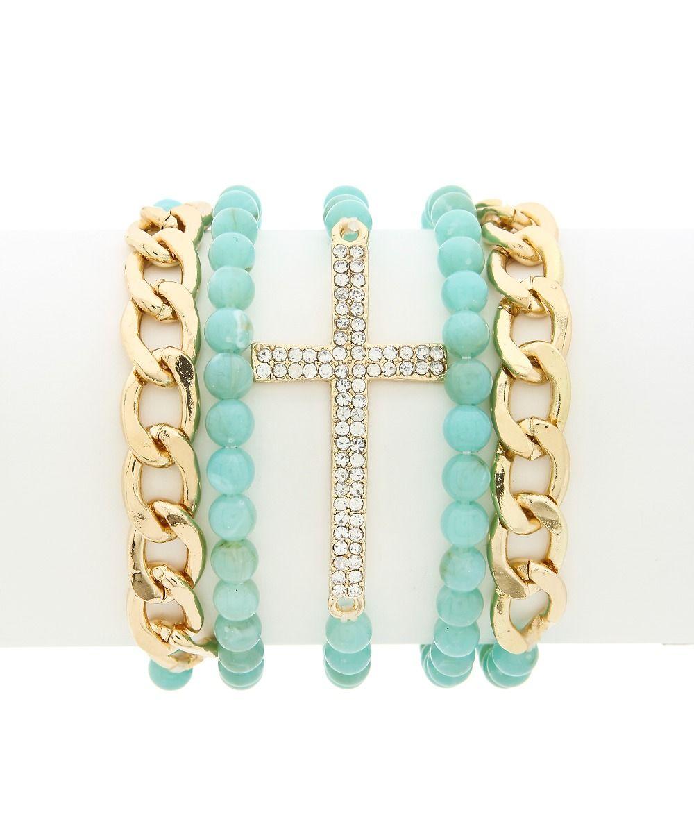 Faithful Bracelet Set - Aqua
