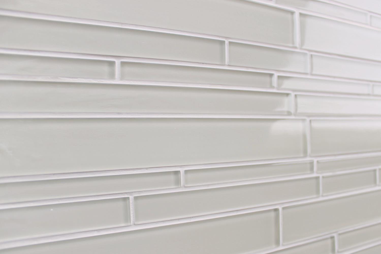 Light Beige Off White Glass Subway Tile Kitchen Backsplash