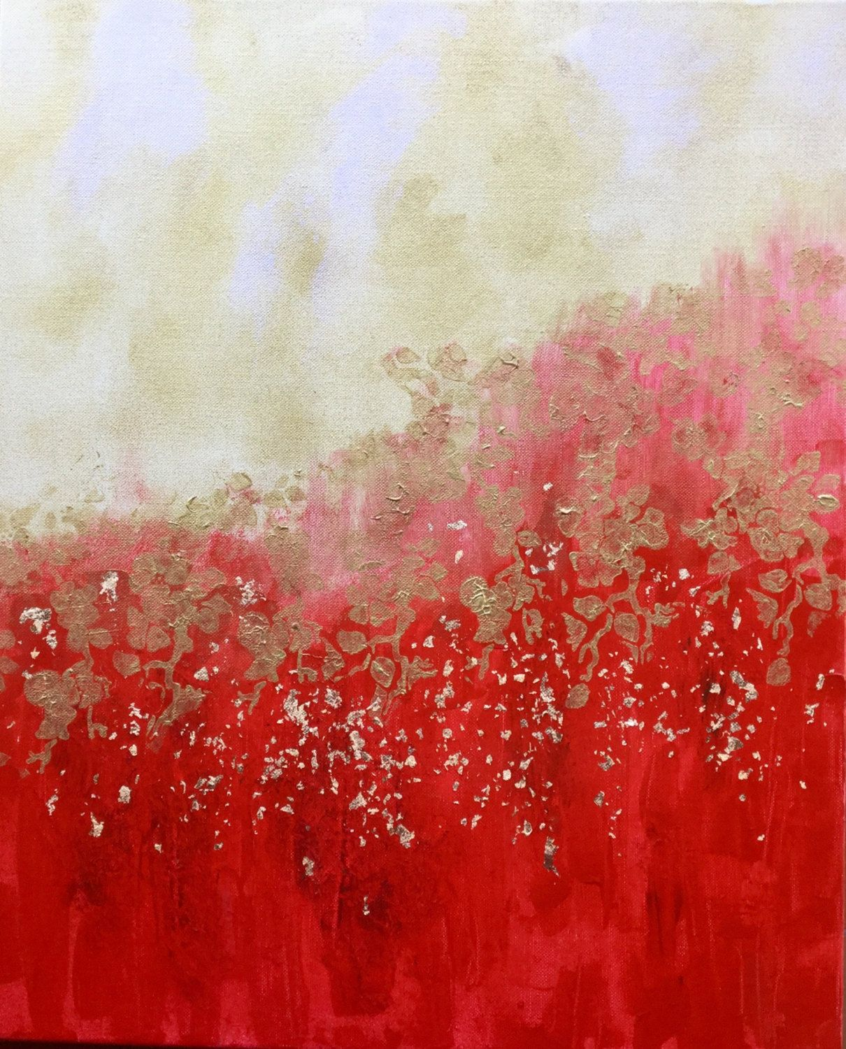 rain of gold/abstract painting red, gold/Peinture abstraite rouge/application doree/décoration ...