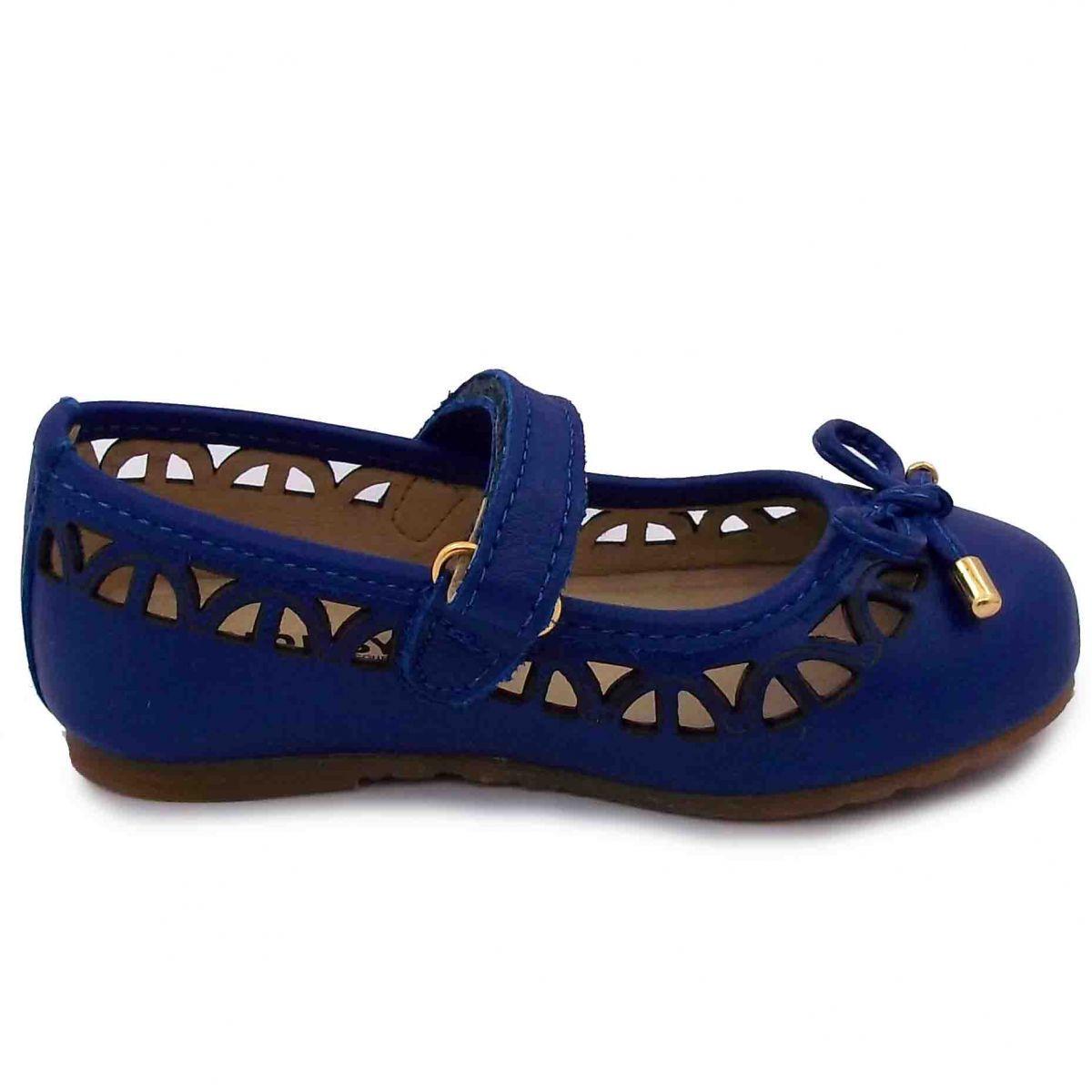 32d67cf473 Sapatilha Feminina Infantil Menina Com Laço Azul Escuro Couro Hobby ...