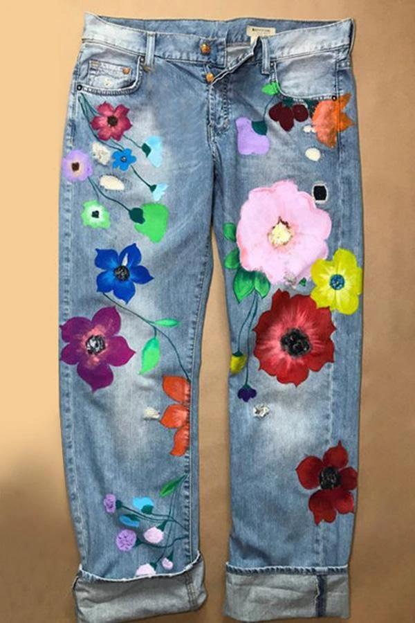 Vintage Casual Floral Pocket Jeans 1