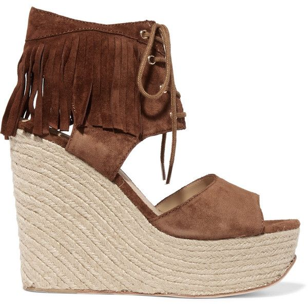 ASH Belinda fringed suede wedge sandals ($125) ❤ liked on Polyvore featuring shoes, sandals, brown, wedges shoes, fringe wedge sandals, lace up sandals, platform sandals and brown sandals
