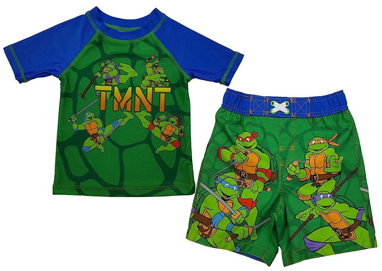 7e29f40c90 TMNT Teenage Mutant Ninja Turtles Boy's 2-Pc Rash Guard & Swim Trunks  UPF