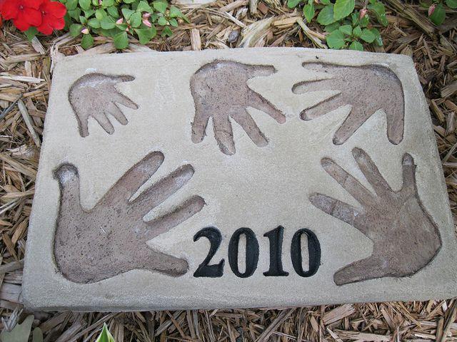 Img 0005 Hands Garden Tiles Cement Patio Painting