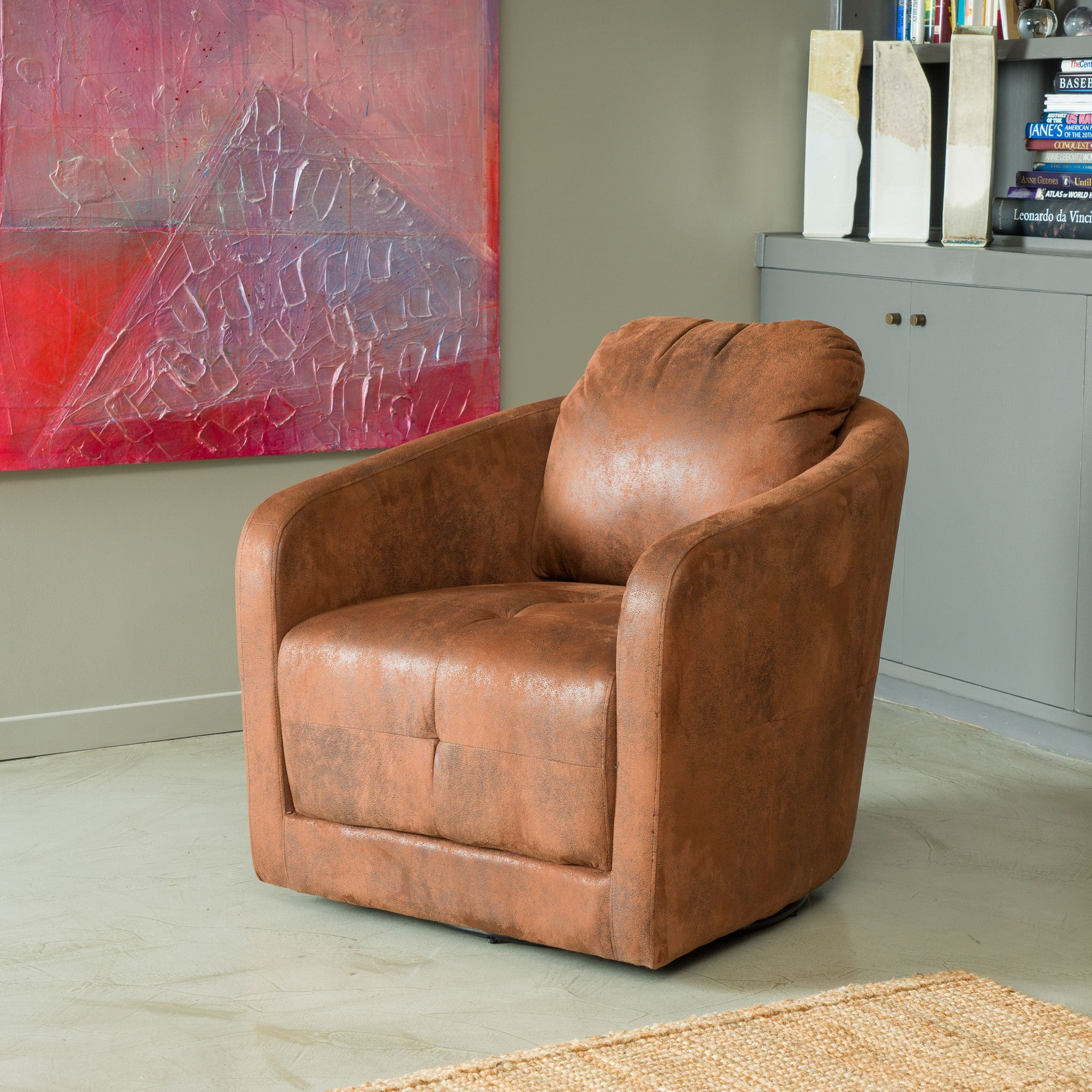 Attrayant Bernhoft Swivel Brown Aged Microfiber Armchair