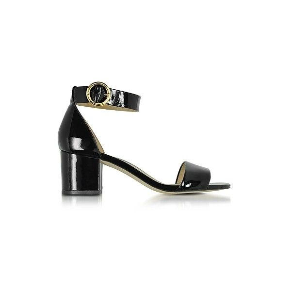 368b2ec30720 Michael Kors Shoes Lena Black Patent Leather Mid Heel Sandals (240 CAD) ❤  liked