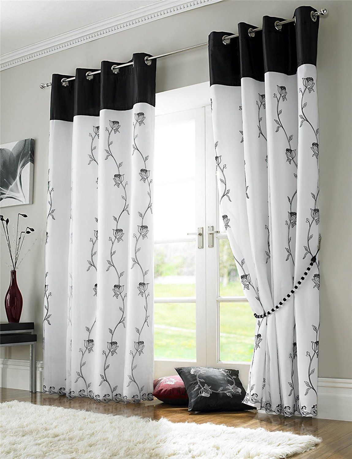 Window coverings of idaho  black white floral rose fully lined ring top voile curtain drapes