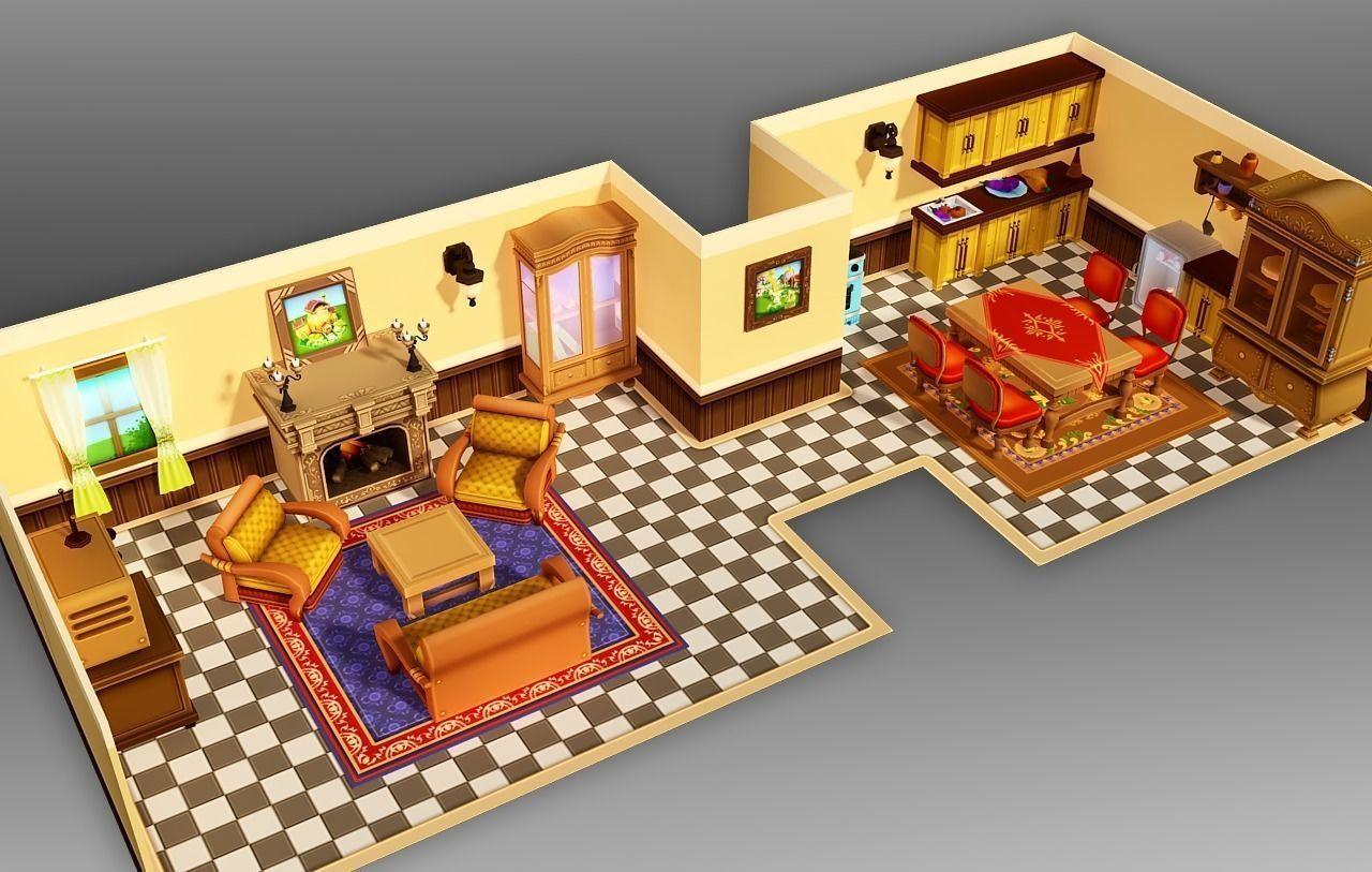 cartoon-house-interior-3d-model-low-poly-max-fbx.png (1280×813)   3D ...