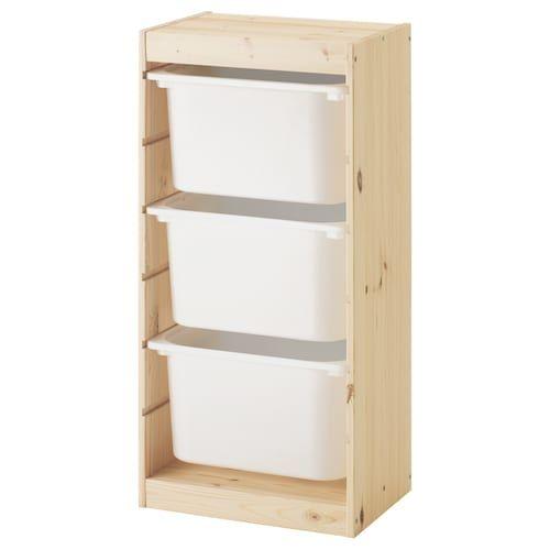 Opbergkast Met Bakken Ikea.Opbergcombinatie Met Bakken Trofast Grenen Licht Wit