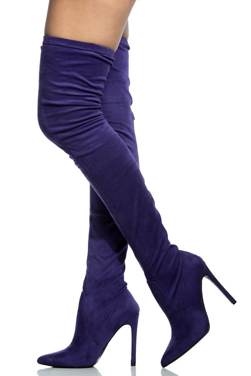 4883a3cf66f Purple Faux Suede Thigh High Pointed Toe Boots   Cicihot Boots  Catalog women s winter boots