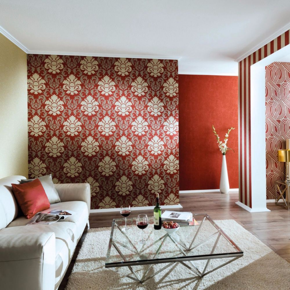 Carat Damask Glitter Wallpaper Gold And Red P S 13343 80 Fea
