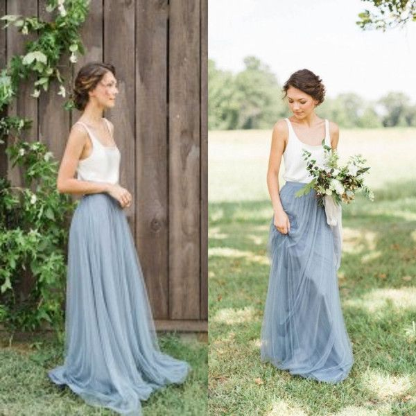 Vintage Two Tone Bridesmaid Dresses Garden Beach Wedding Maid Of Honor Floor Length Long Formal Gowns Scoop Neck Sleeveless Tulle As Low 85 43