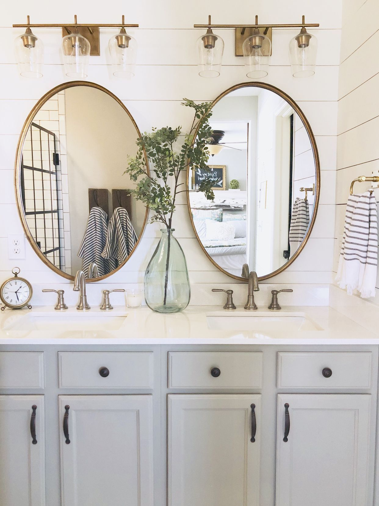 Shiplap Brass Lighting Oval Mirrors Mixed Metals Bathroom Inspiration Decor Oval Mirror Bathroom Oval Bathroom Mirror Ideas