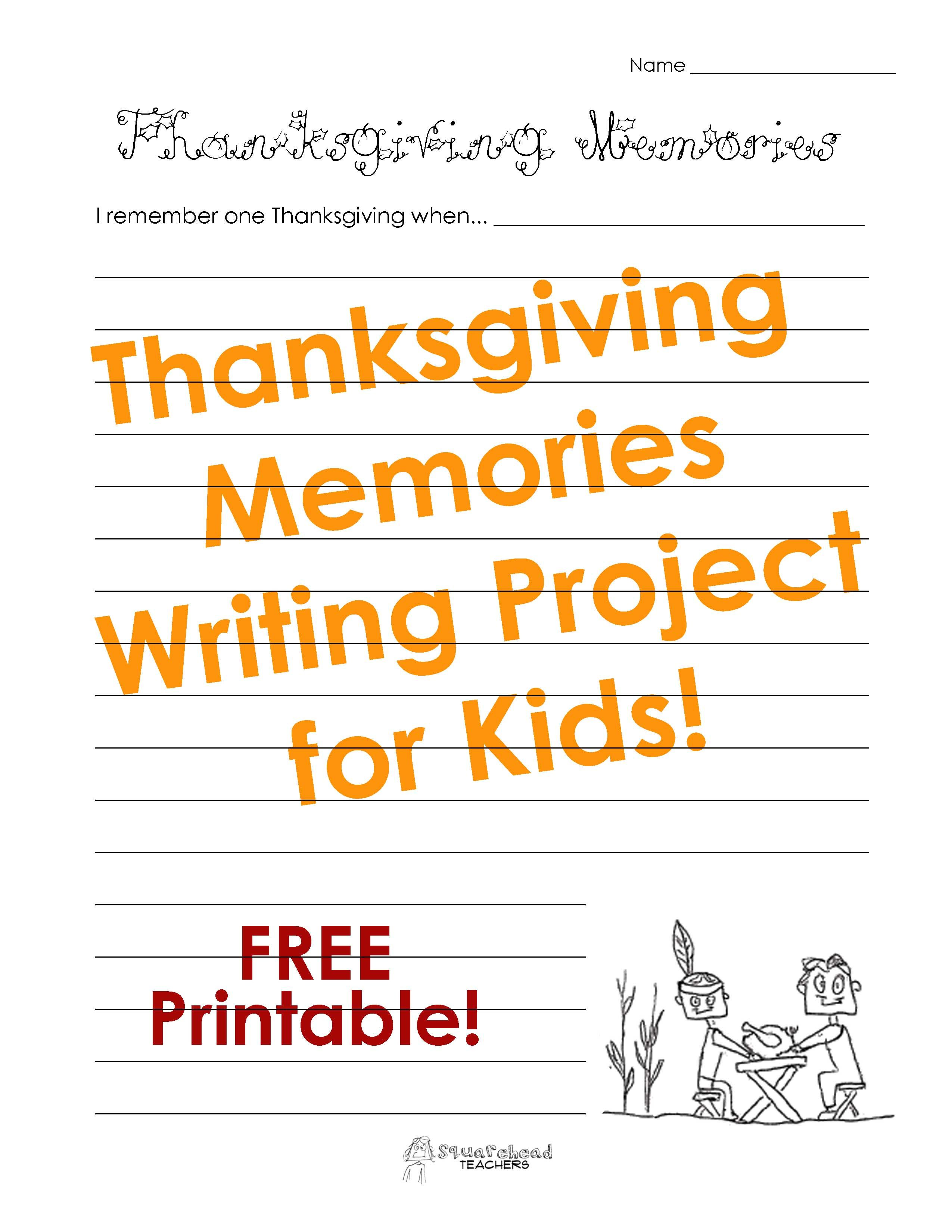 Thanksgiving Memories Writing Project For Kids