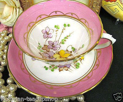 TUSCAN TEA CUP AND SAUCER PAINTED FLORAL & PINK COLOR TEACUP