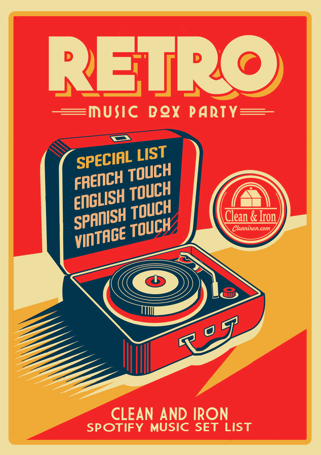 Playlist Clean And Iron Poster Vintage Retro Retro Music Retro Poster