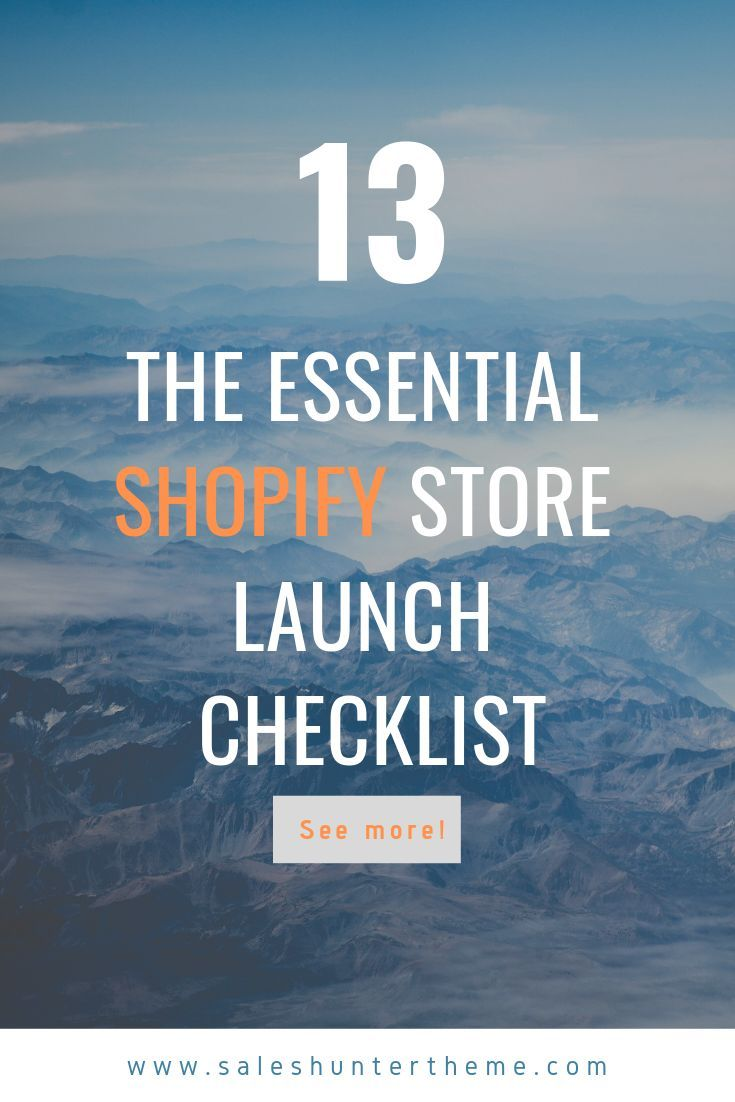 If you're about to start a new Shopify store and in the process set up, be sure to check 13 essential notes from this checklist for a smooth launch day.  #shopify #ecommerce #design #inspiration #guide #checklist