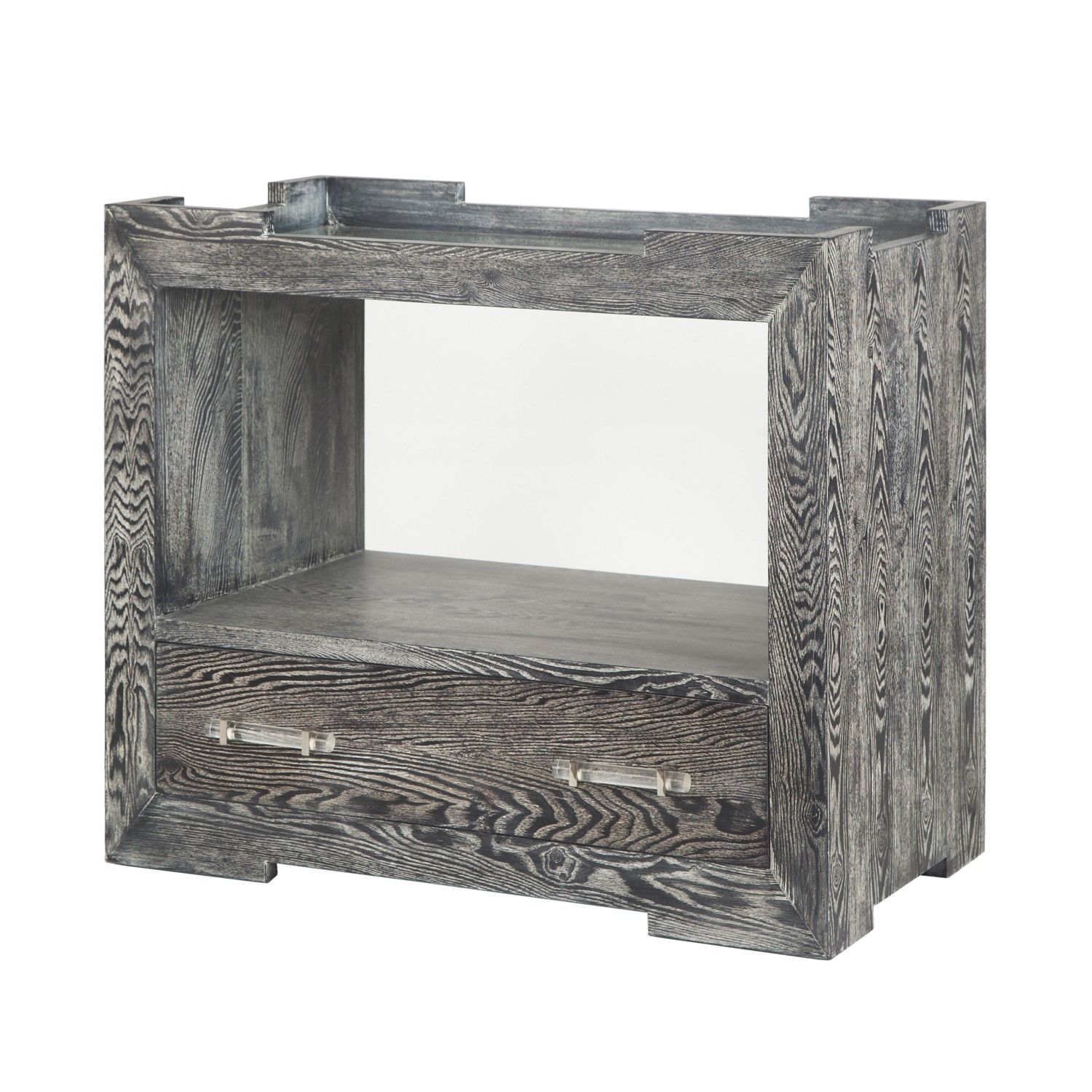 Monica bco tray top one drawer side table in black