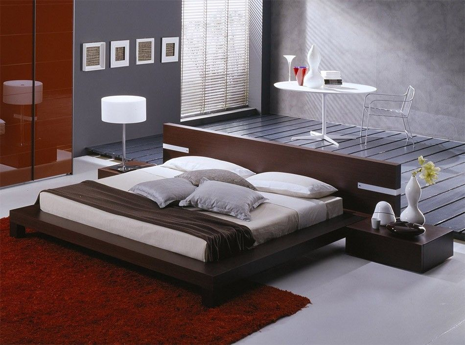Modern Master Bedroom with Win Italian Platform Bed by