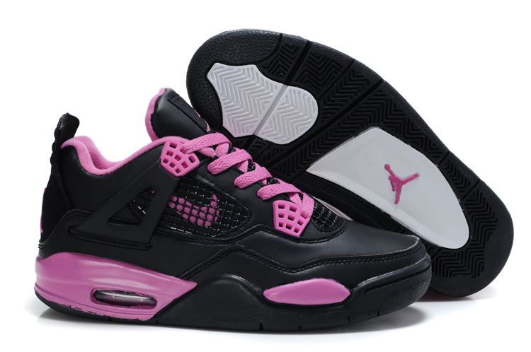 2013 New Women Air Jordans 4 Black Pink Sports Shoes Shop