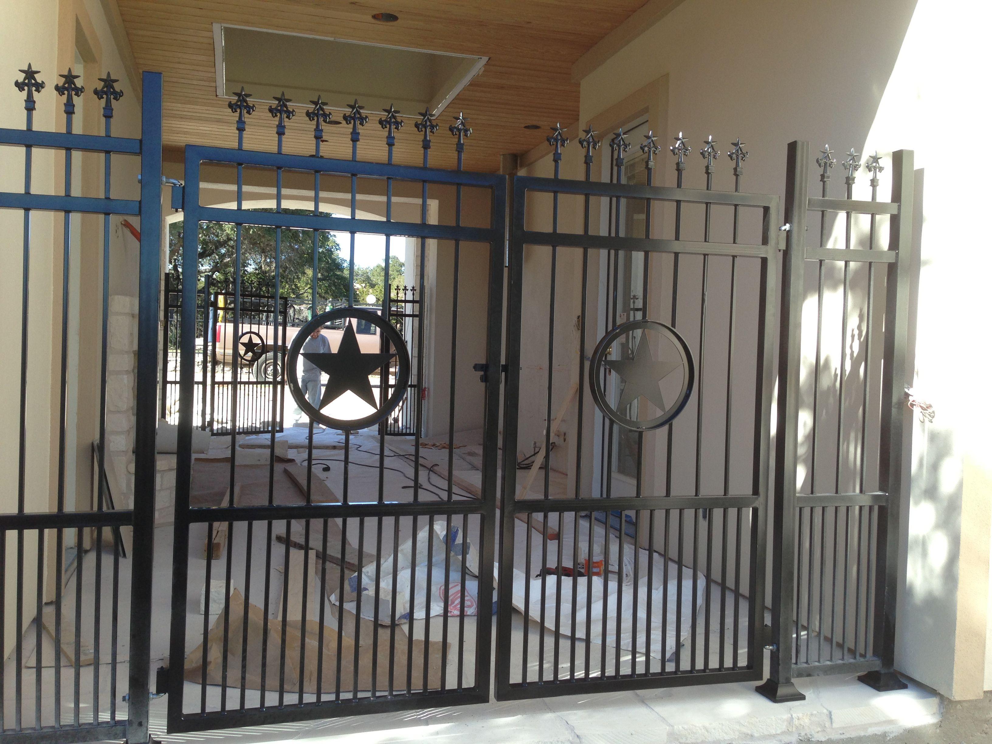 Wrought Iron Metal Walk Thru Gate With Texas Star Center Piece