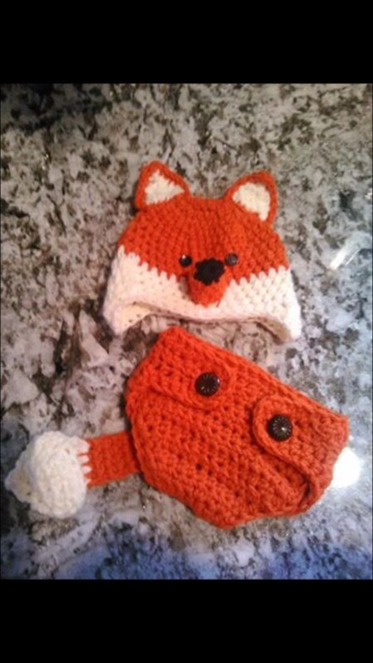 Crocheted fox outfit Sizes are newborn thru toddler Prices start at $25 Ericarays@yahoo.com