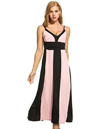ACEVOG Damen Chiffon Maxikleid Sommer Kleid Strand Lang Elegant ...