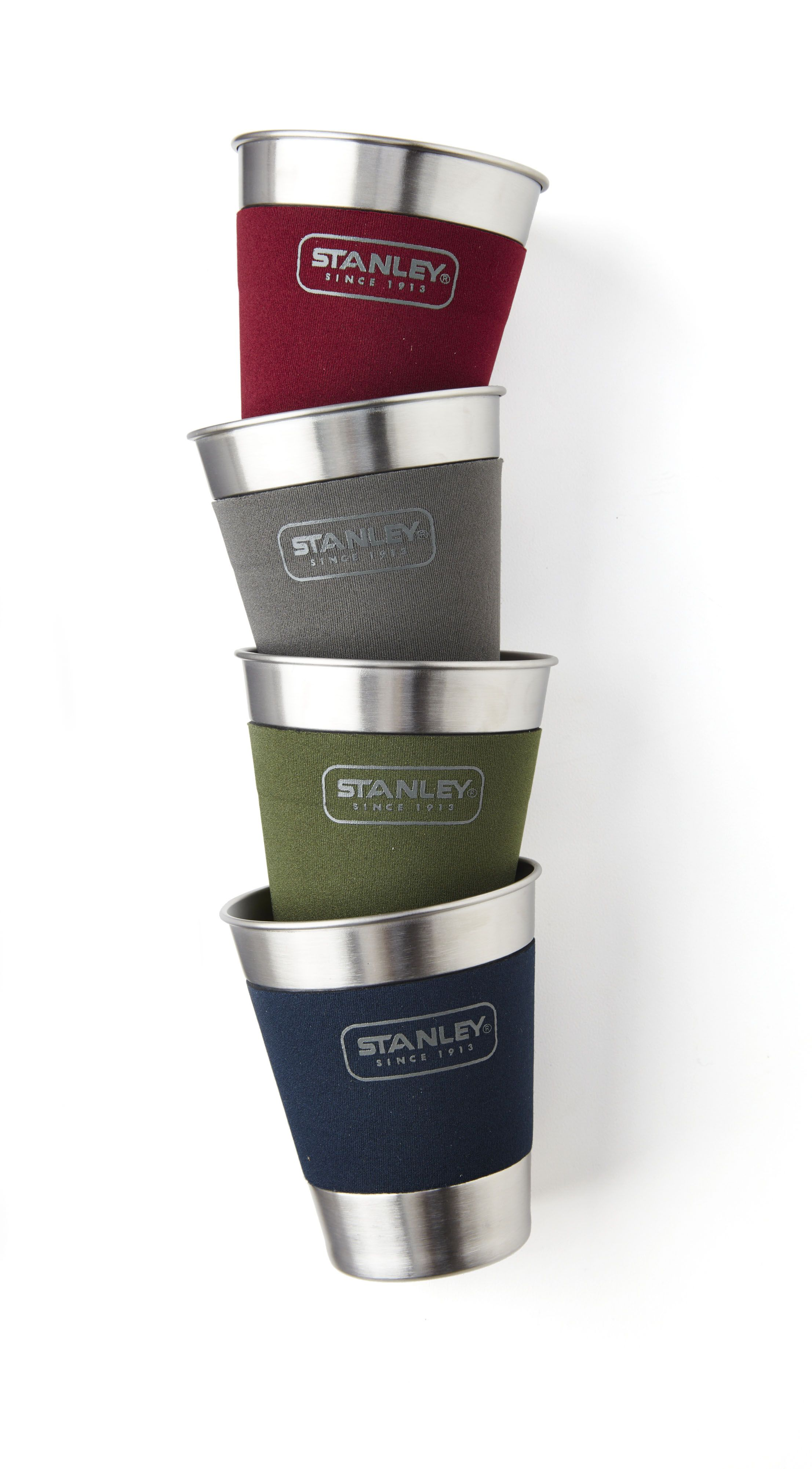 The Adventure Stacking Steel Tumbler set is party-prepared with four colored, neoprene sleeves to help keep track of drinks.