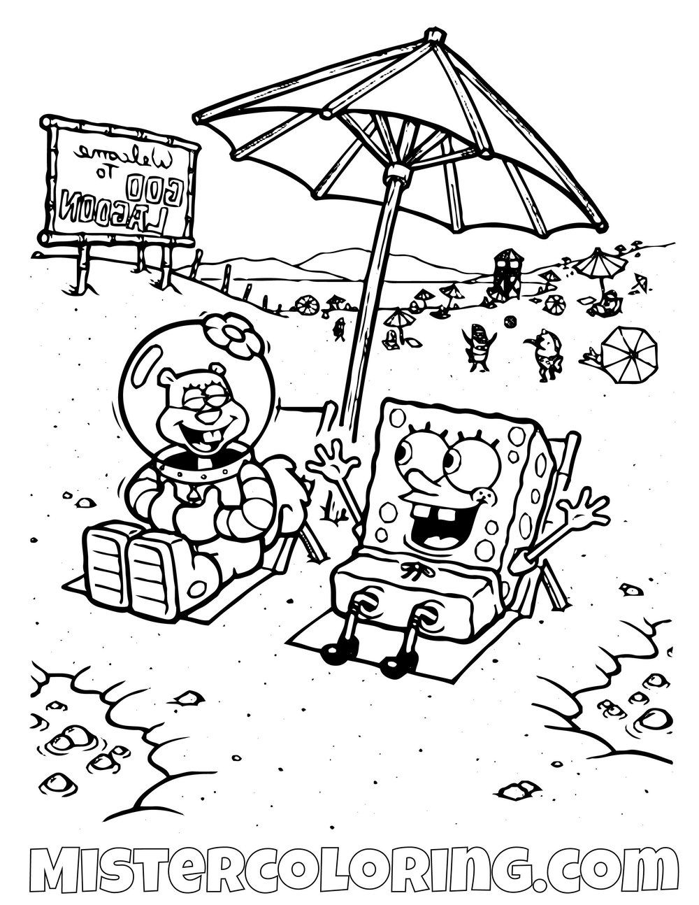 Spongebob And Sandy On The Beach Spongebob Squarepants Coloring Pages For Kids Coloring Pages For Kids Coloring Pages Coloring Pages For Boys [ 1294 x 1000 Pixel ]