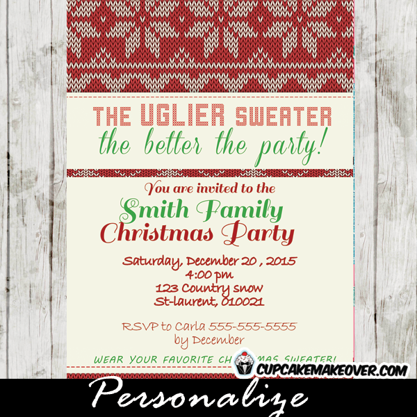 Printable Christmas Patterned Ugly Sweater Invitation This Personalized Party Card Features A