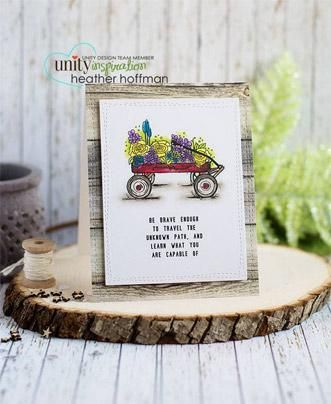 """From the Stamp of the Week Collection.  Created by Angie Blom and Joslyn Nielson.  Wagon with flowers measure approximately 2"""" x 2.75"""".  """"Be brave enough to travel the unknown path, and learn what you are capable of"""" sentiment measures approximately 1"""" x 1.5"""".  All Unity Stamps are pre-cut, mounted on cling foam and ready to use right out of the package – you can mount our stamps on any acrylic block.  Unity is known for its HIGH QUALITY red rubber stamp – to be ..."""