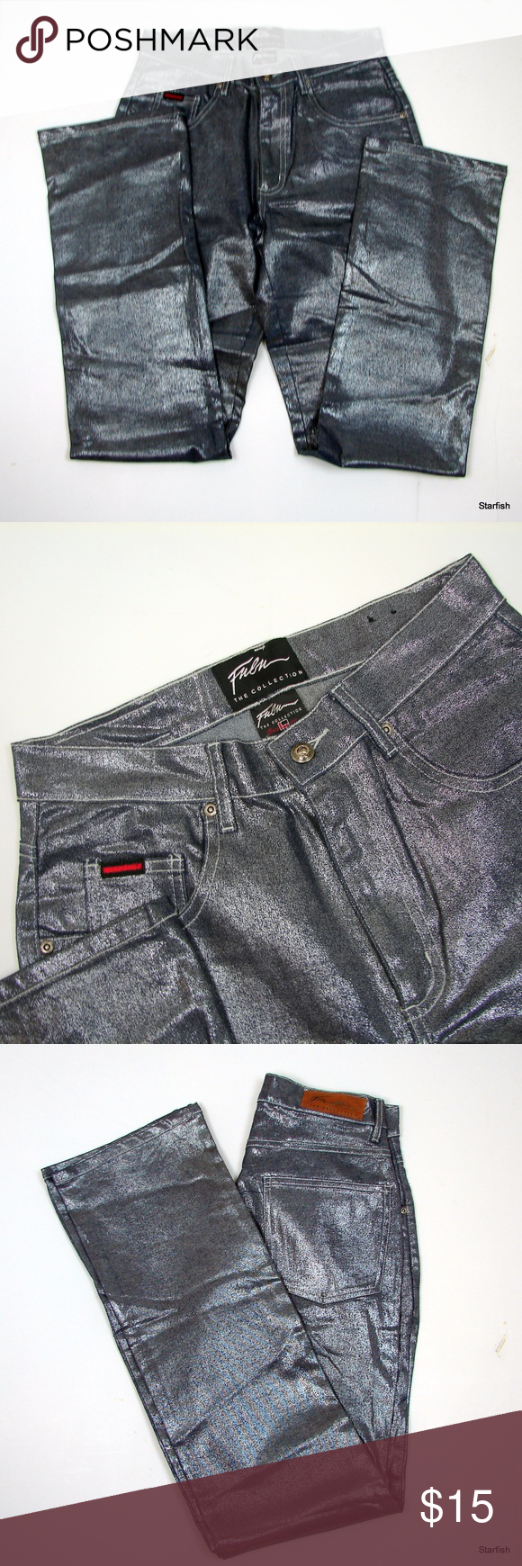 375dafb6 FUBU The Collection metallic jeans 7/8 FUBU The Collection shiney metallic  jeans 7/8. 2% spandex Never worn but so cute! Waist 28-32