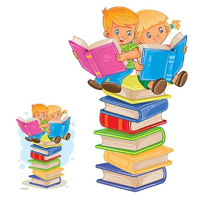 Vector Little Boy And Girl Sitting On A Pile Of Books And Readin Reading Book Children Png And Vector With Transparent Background For Free Download Boy Girl Cartoon Little Boy Girl