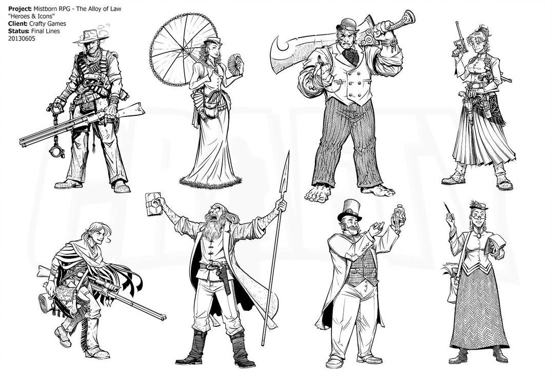 A Series Of Character Portraits Illustrating Potential Archetypes For Players Of The Mistborn Adventure Game An Archetypes Character Portraits Fantasy Warrior