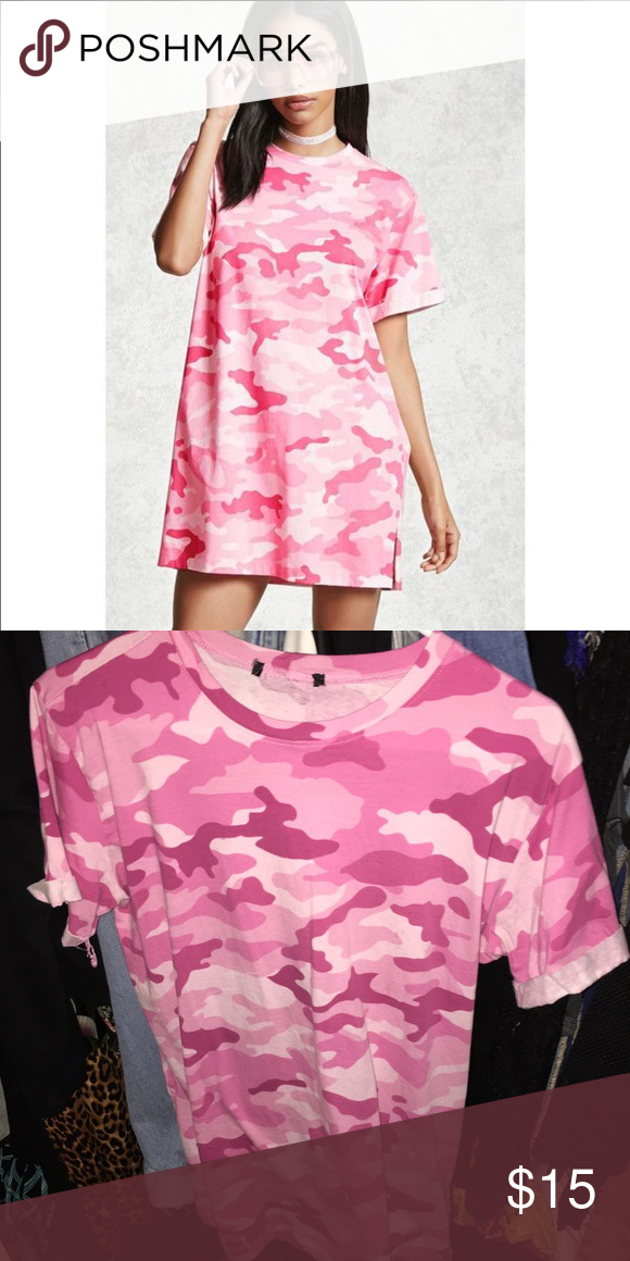 c980b6118614 Pink camo t-shirt dress💞💞 Perfect condition worn once Forever 21 Dresses