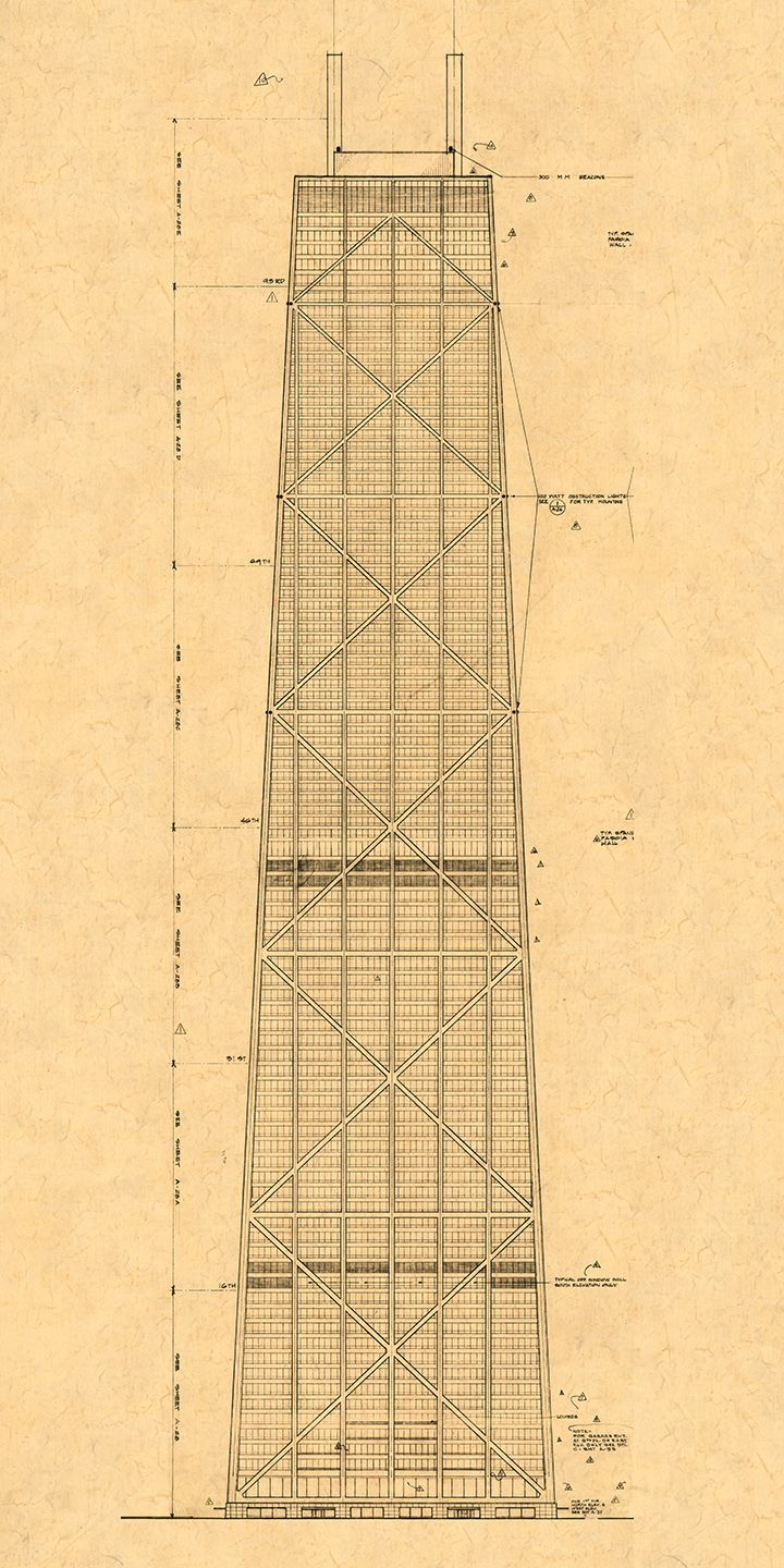 Blueprint elevation of the john hancock center chicago pinterest blueprint elevation of the john hancock center malvernweather Choice Image