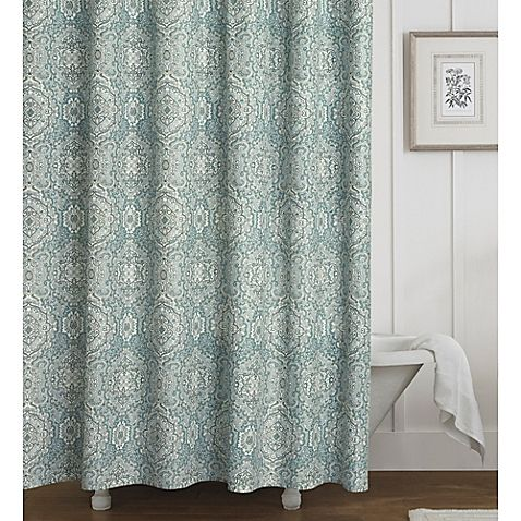 Laura Ashley Ardleigh Shower Curtain Features An Allover Medallion Print In Tones Of Teal And Duck Egg Blue With Linen Cream Creating A Classic