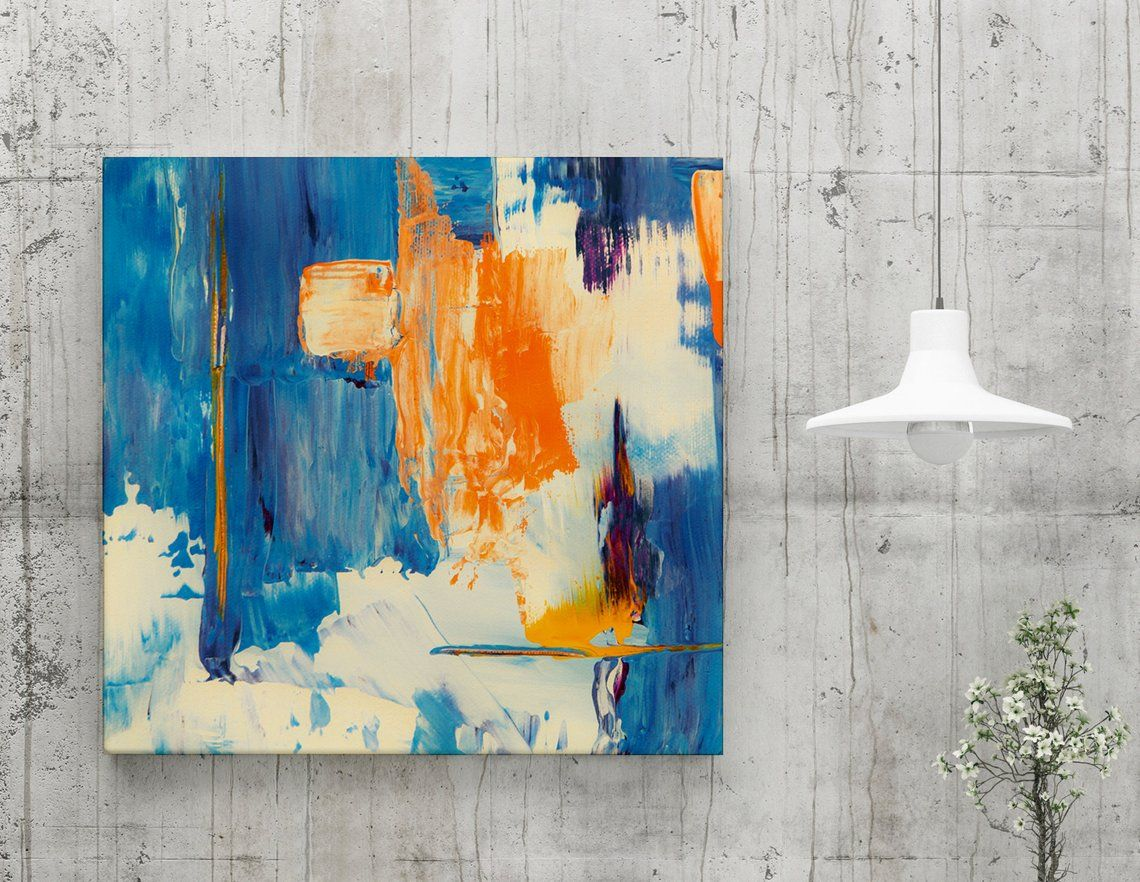 Image 0 Orange Wall Art Canvases Blue Abstract Art Orange Wall Art