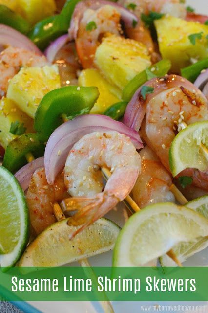 sesame lime shrimp skewers easy grilled kabobs made with pineapple onion pepper and a