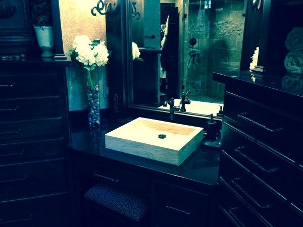 Grey is a trending color for bathrooms Vessel sink, Travertine and