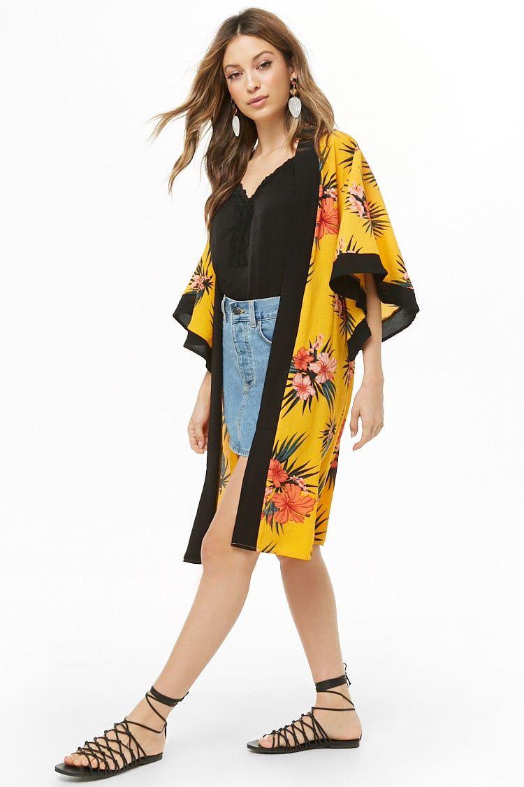 Womens Tropical Print Floral Fringed Short Sleeve Ladies Kimono