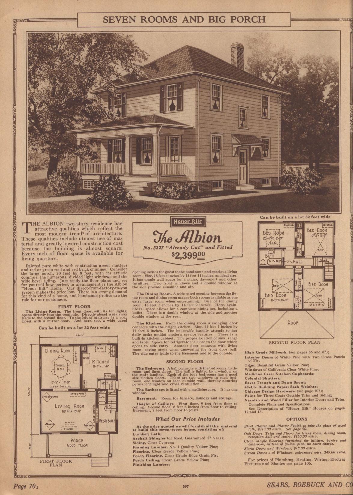 Sears Albion 1925 3227 1926 P3227 1927 1928 Vintage House Plans Big Porch Kit Homes