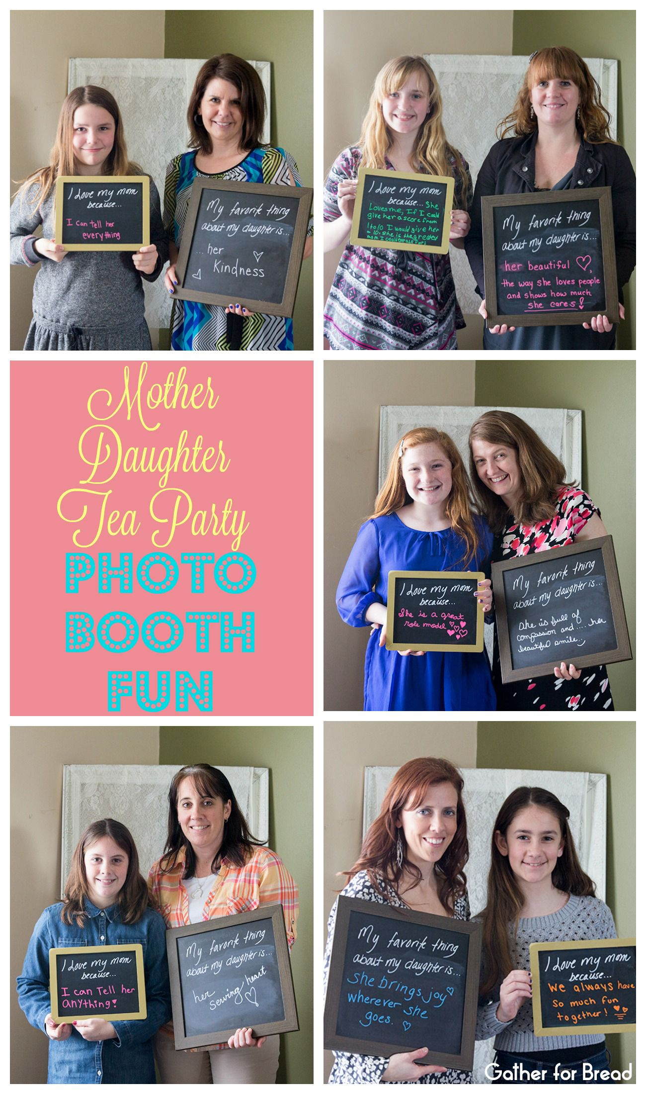 Mother Daughter Tea Party Photo Booth Fun Collage with Watermark ...