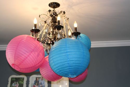Chinese Lanterns From Hobby Lobby The World S Cheapest Chicest And Easiest Big Punch Of Color Decor For A G Gender Reveal Party Reveal Parties Gender Reveal